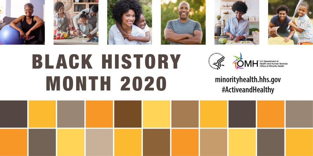 Postcard with African American people to celebrateBlack History Month 2020