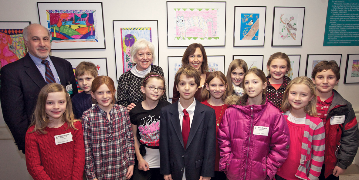 Students from Skaneateles Elementary School display healing art in Crouse Hospital, 2010