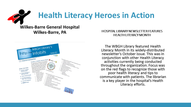 promotional slide for the Health Literacy Hero Award and Wilkes-Barre General Hospital