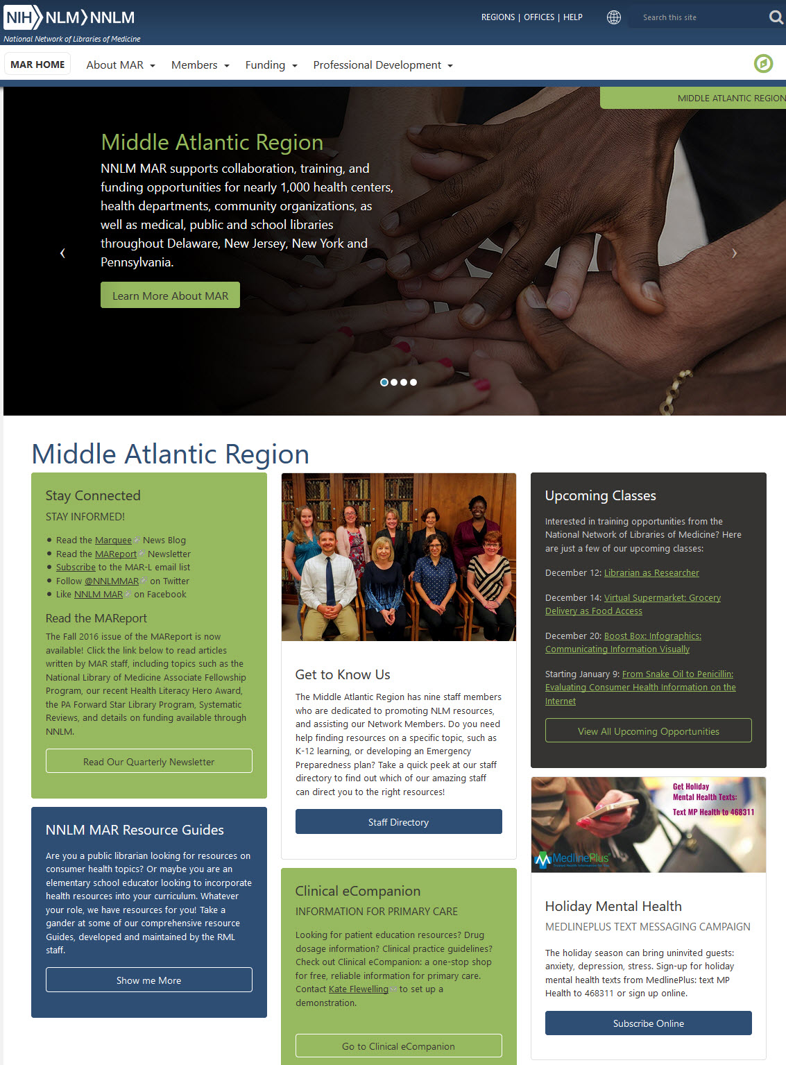 screenshot of NNLM MAR new website homepage