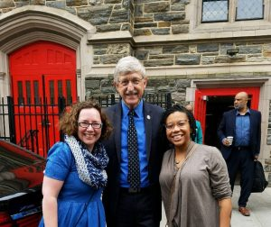 NNLM MAR Executive Director Kate Flewelling and All of Us Community Engagement Coordinator Veronica Leigh Milliner with NIH Director Francis Collins.