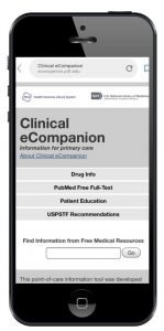screen capture of the mobile Clinical eCompanion website