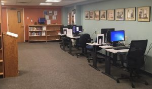 part of the redesigned library space featuring computer stations