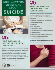 NIMH Answers Questions about Suicide publication cover