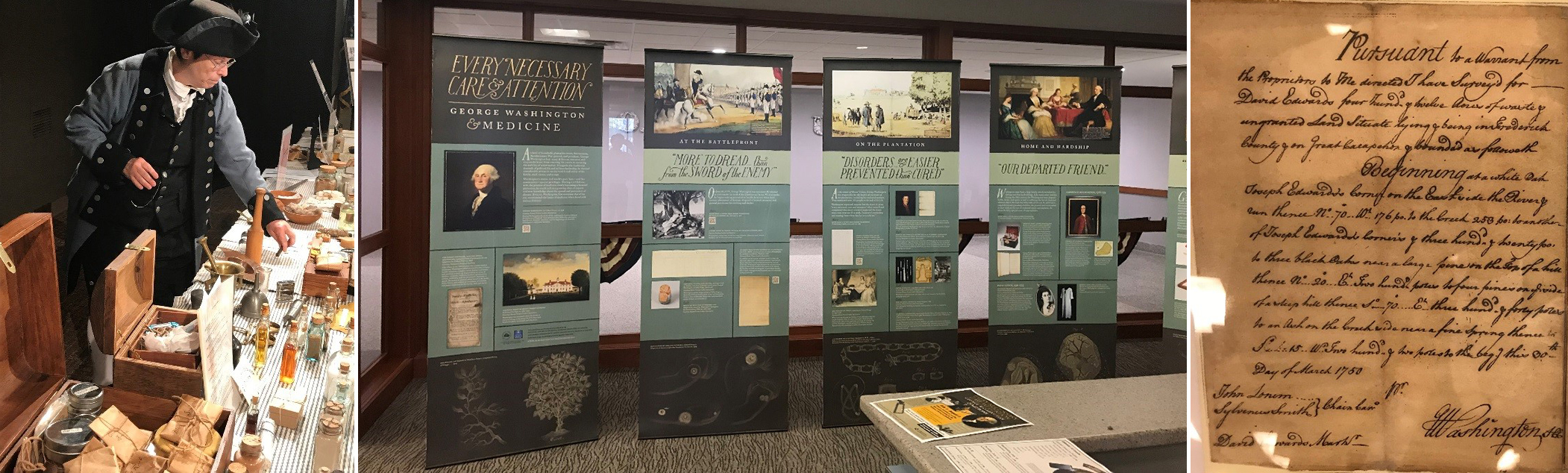 three photos: Revolutionary War surgeon re-enacter, exhibit banners, and a document from George Washington