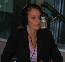Rebecca May-Cole being interviewed by a radio program