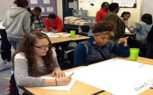 Students mapping community health and healthy characteristics for service learning projects