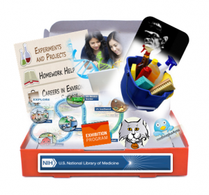 Image of a Box with logos and pictures from various NLM resources