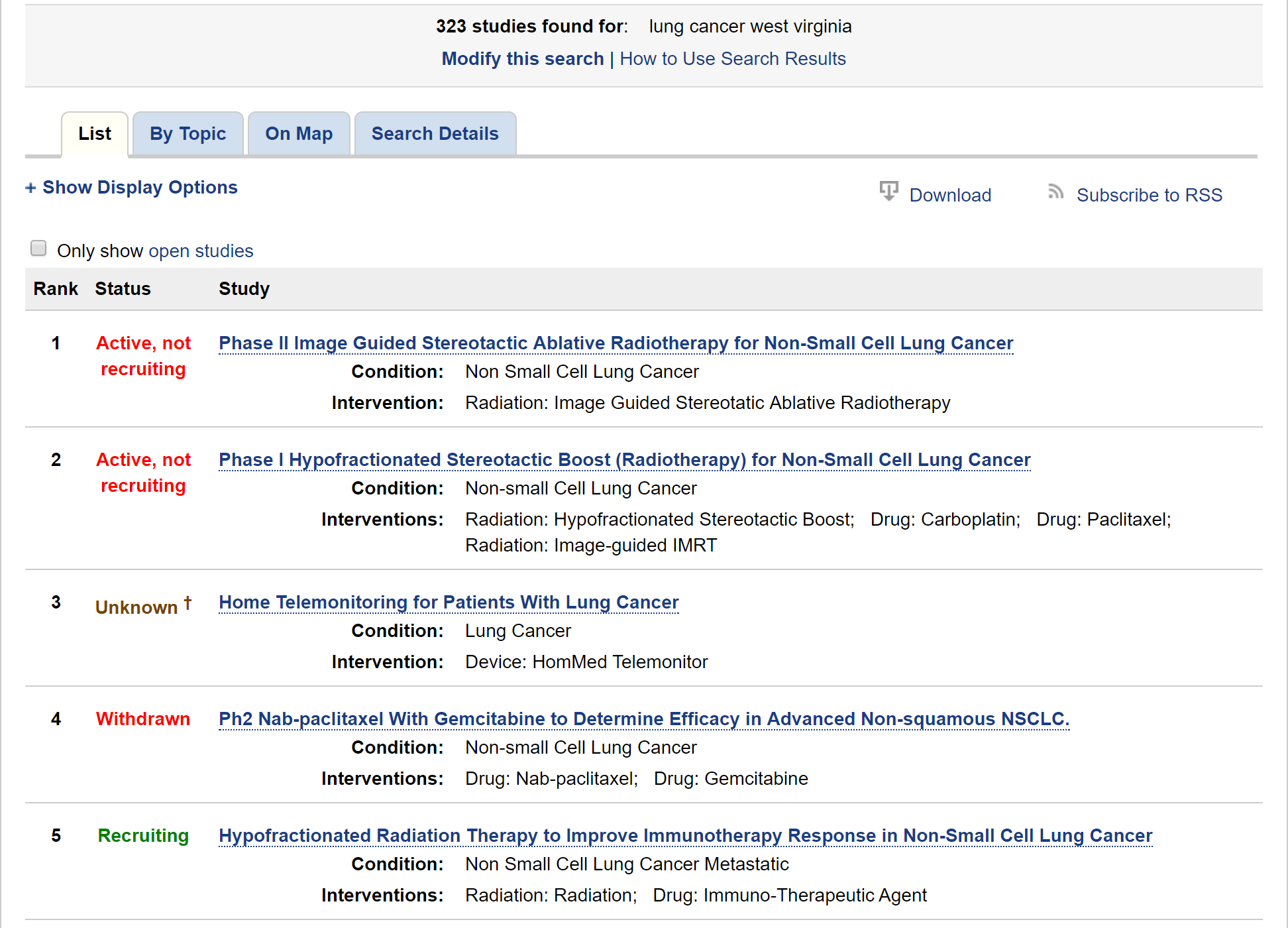 """a search for """"West Virginia"""" and """"lung cancer"""" on ClinicalTrials.gov"""