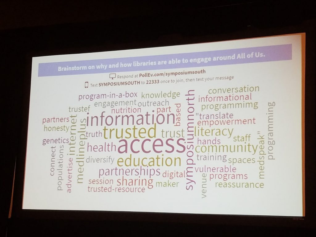 Word cloud with answers to prompt: Brainstorm on why and how libraries are able to engage with all of us. Words include: information, trusted, acces, programming, program-in-a-box, community, vulnerable, literacy, trusted resource, education, diversity, medlineplus
