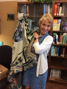 Renee Gorrell with prize blanket