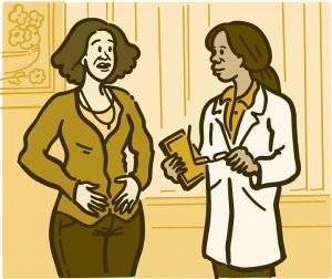 illustration of a woman talking with her doctor.