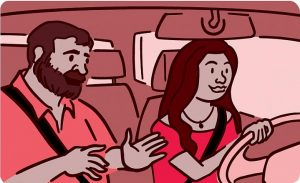 illustration of a passenger in a car talking to the driver