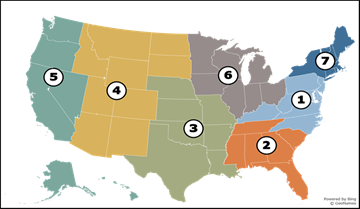 Map of United States showing the 7 regions for 2021-2026