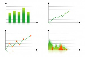 illustration of different business graphs on white background