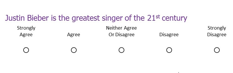 likert scale stating that justin bieber is the greatest singer of the 21st century and ratings