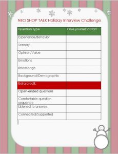 Holiday challenge chart, There is a holiday border around a table-style chartt with the six categories of questions, the five extra credit techniques, and blank cells for stars