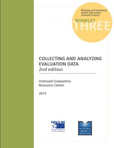 Cover of NEO's Booklet 3 on collecting and analyzing evaluation data