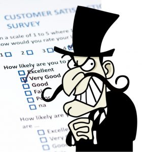 Villain cartoon with survey questions