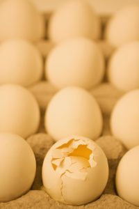 Broken egg in a carton with other eggs, showing how the attention is drawn to negatives.