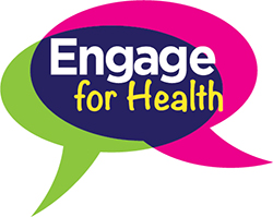 Two converging conversaton bubbles that say engage for health