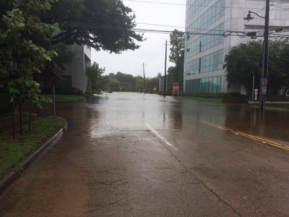 Photo of flooded street in Houston