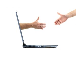 Handshake between a laptop and a human