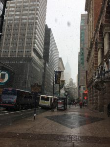 Snowflakes falling in downtown Philadelphia.