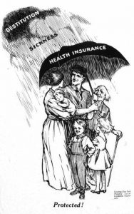 This editorial cartoon supports compulsory health insurance to protect workers from losing their livelihoods due to sickness.