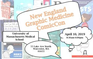 Graphic for New England Graphic Medicine ComicCon being held at the UMass Medical School on April 10, 2019
