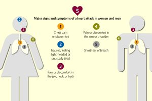 Infographic from the CDC showing the five major signs and symptoms of heart attacks in women and men.