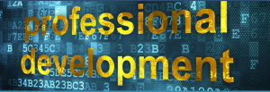 "Picture with fake computer code background and the words ""Professional Development"""