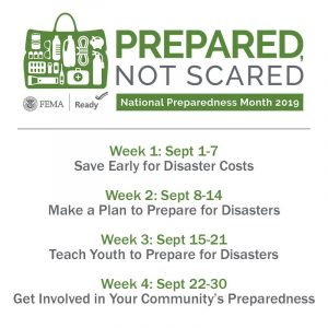 Prepared Not Scared 2019 National Preparedness Month logo with each week's theme.
