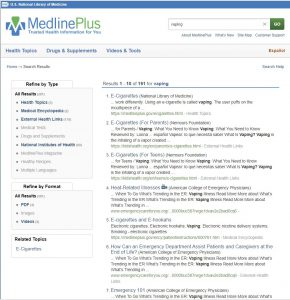 "screen shot of the MedlinePlus website when a search about ""vaping"" is done."