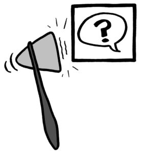 Logo for the 2020 New England Graphic Medicine Conference with a reflex hammer and question mark in a speech bubble