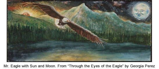 Illustration of an eagle flying over a lake with sun and moon in the background