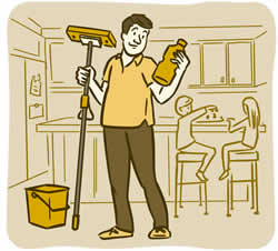 Illustration of a dad holding a mop and reading the label on a bottle of cleaning fluid in a kitchen