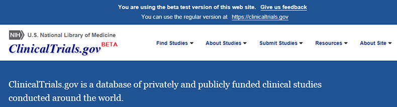 screenshot of the new beta version of clinicaltrials.gov