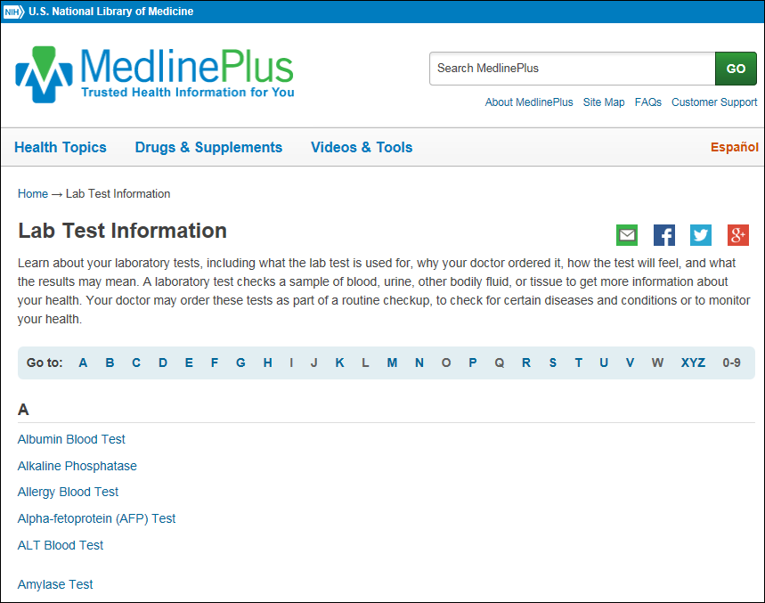 screenshot of the medlineplus lab test information page