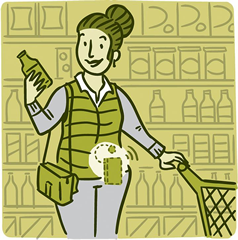 llustration of a woman wearing a glucose monitor while shopping