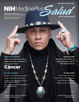 Taboo of the Black Eyed Peas on the cover of NIH Medlineplus Salud Magazine