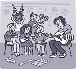 Illustration of kids playing music in a classroom