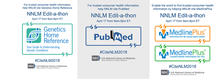 promotion for nnlm editathon on april 17 9am-pm