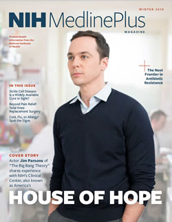 Actor Jim Parsons on the cover of NIH MedlinePlus magazine