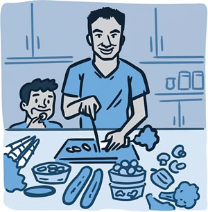 Illustration of parent and child preparing a healthy meal together