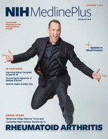 cover of NIH Medlineplus magazine with comedian Matt Iseman