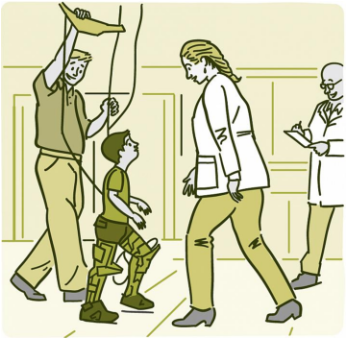 Illustration of a child wearing the robotic exoskeleton in a laboratory