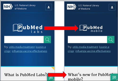 Side by side comparison of PubMed Labs and PubMed Mobile
