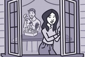 Illustration of a woman opening a window
