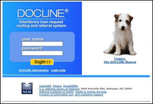 screenshot of DOCLINE login page with Tugger the DOCLINE mascot